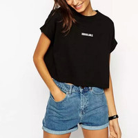 Women Embroidery Letters Crop Tops Black Loose UNAVAILABLE Pattern O-neck Short Sleeve T Shirt