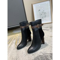 lv louis vuitton trending womens men leather side zip lace up ankle boots shoes high boots 77
