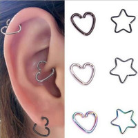 1Pc Stainless Steel Heart Labret Rings Lip Hoop Star Nose Ear Rings Cartilage Tragus Piercing Seamless Body Jewelry For Women