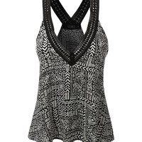 LE3NO Womens Flowy Bohemian V Neck Racerback Tank Top (CLEARANCE)