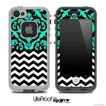 Mirrored Trendy Green Chevron Pattern Skin for the iPhone 5 or 4/4s LifeProof Case