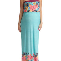 Tropic Floral Strapless Maternity Maxi Dress