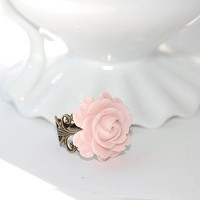 Vintage Pink Blossom ring by crushjewels on Etsy