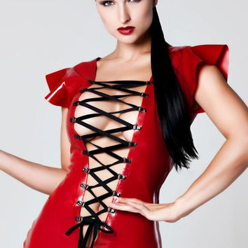 Sexy Front lace up Latex Rubber Mini dress