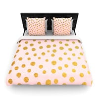 "Nika Martinez ""Golden Dots & Pink"" Blush Woven Duvet Cover"