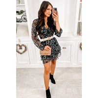 All About Tonight Floral Ruffle Dress (Black)