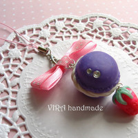 Kawaii cute handmade polymer clay purple french macaroon strawberry bow cell phone strap charm