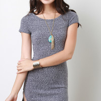 Melange Knit Short Sleeve Mini Dress