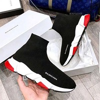 Balenciaga Sock Boots Woman Men Fashion Breathable Sneakers Running Shoes Black (white red sole)