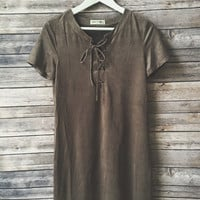 Carleigh Faux Suede Tshirt Dress (Gray)