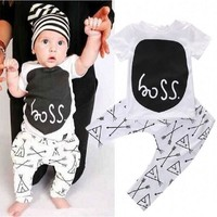 Hooyi Boss Baby Boy Clothes Suit Fashion White Arrow Newborn T-Shirt Pant Set Infant 2Pcs Clothing Set 100% Cotton Tee Shirt