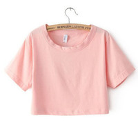 Pink Oversized All Basic Cropped Top