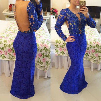 Mermaid Lace Prom Dresses Prom Dress Evening Gown Cocktail Dress in Royal Blue pst0505