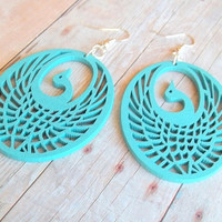 B I R D - Light Turquoise Teal Blue Peacock Bird Design Hand Painted Wooden Filigree Silver Plated Dangle Earrings