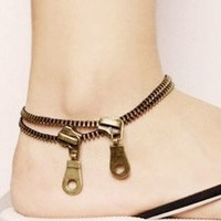Zipper Fashion Statement Anklet (Ankle Bracelet) - LilyFair Jewelry