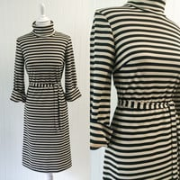 1960s nude & black stripe polyknit dress turtleneck cuff sleeves fitted sheath midi // Mod nautical belted // size S