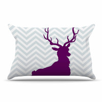 "Suzanne Carter ""Chevron Deer"" Purple  Pillow Sham"