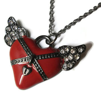 Angel Wing Heart Necklace, Red Enameled Pendant,Clear Rhinestones, Valentine's Day Jewelry