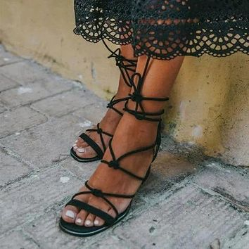 Women Office Shoes Sandals High Heels Pumps Shoes Woman Gladiator Cross-tied Lace Up Sandalias