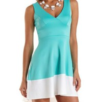 Mint Color Block High-Low Skater Dress by Charlotte Russe