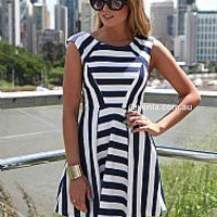 THE NAVY AND WHITE STRIPE DRESS , DRESSES, TOPS, BOTTOMS, JACKETS & JUMPERS, ACCESSORIES, 50% OFF SALE, PRE ORDER, NEW ARRIVALS, PLAYSUIT, GIFT VOUCHER, Australia, Queensland, Brisbane