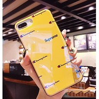 Champion X Supreme Trending Women Men Stylish Blue-Ray Silicone Cellphone Case For iphone 6 6s 6plus 6s-plus 7 7plus iphone 8 iphone X Soft Protective Shell Yellow I12717-1