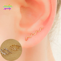 Minimalist Style Gold/Silver Plated Wave Ear Crawler Bar Studs Earrings For Women Gold Ear Wrap Earings Fashion Jewelry