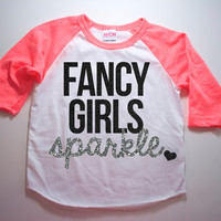 Fancy Girls Sparkle Shirt Kid's Raglan Girl's Shirt Baby Girl Clothes Baby Girl Shirt Hipster Baby Clothes Baby Gift Silver Raglan #10