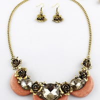 Rose Earrings and Scallop Collar Necklace Set