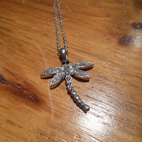 Silver Rhinestone Dragonfly Necklace   Candy's Cottage
