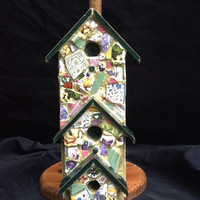 Birdhouse Mosaic Wood Paper Towel Holder