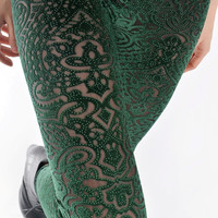 Dark green velvet silver dots lace sheer hollow vintage print flower floral slim fit leggings tights one size S-M (LGN-017)
