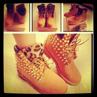 UNISEX Spiked and Leopard Timberlands Boots