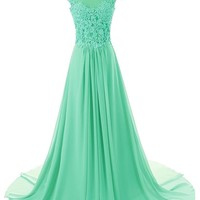 ASBridal Cap Sleeve A-line Chiffon Lace Evening Dress Prom Gown Long