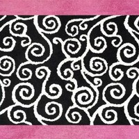 Pink and Black Madison Accent Floor Rug by Sweet Jojo Designs