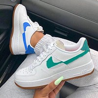 inseva NIKE Air Force1 Broken hook mandarin duck AF1 low-top sneakers blue green