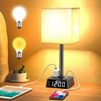 Table Lamp - Bedside Table Lamps with 4 USB Ports and Power Outlets, Alarm Clock Base w/ 6Ft Cord, Square Oatmeal Fabric Lampshade Modern Accent Nightstand Lamps for Bedrooms Living Room Office Black