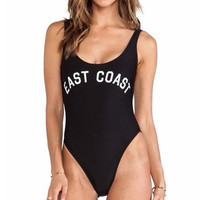 Sexy Black East Coast One Piece Swimsuit Women's Swimwear High Cut Letter Bodysuit  Summer Bathing suits