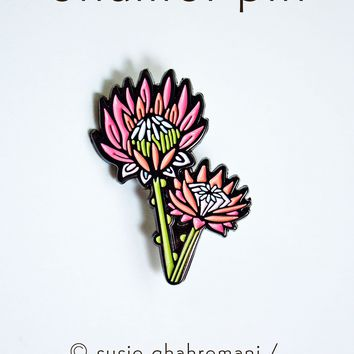 Flower Enamel Pin - King Protea Pin - Protea Enamel Pin by boygirlparty / Native Poppy