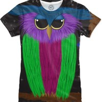The Prismatic Crested Owl Women's T-Shirts by One Artsy Momma | Nuvango
