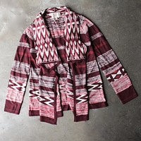 Long Sleeve Cascading Open Front Geometric Print Cardigan