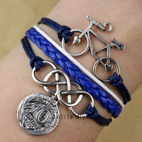 Ancient silver bracelet bicycle - infinity French coin pendant bracelet - navy wax braided rope leather bracelet, friendship gift