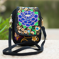 Ethnic Boho Embroidered Vintage Blue Flowers Canvas Beach Coin/Phone Bag