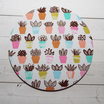 succulents Mouse Pad mousepad / Mat  round or rectangle - plants - Computer Accessories Custom Desk Coworker Office Gifts
