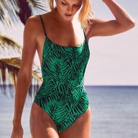 Green Print One Piece Swimsuit