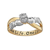 Sweet Sentiments 14k Gold Over Silver & Sterling Silver Diamond Accent Claddagh Ring (Silver/Gold)