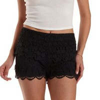 Black Scalloped Lace High-Waisted Shorts by Charlotte Russe