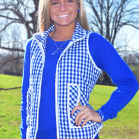callin' dibs quilted vest, blue & white checkered gingham print