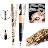 New Waterproof Brown Black Leopard Cosmetic Makeup Eyebrow Pencil Brush