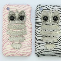 Silvery Owl & glitter Hard Case Cover For iPhone 3, iPhone 3gs,iPhone 3g